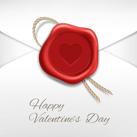 Envelope with red wax seal. Valentine card. Vector realistic.