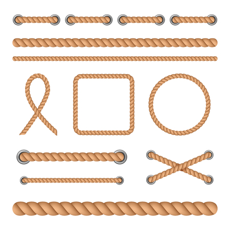 Vector illustration set of realistic seamless treads and twisted rope knots isolated on white background. Decorative elements for retro and vintage design.