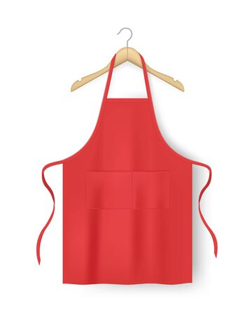 Red blank kitchen cotton apron isolated.