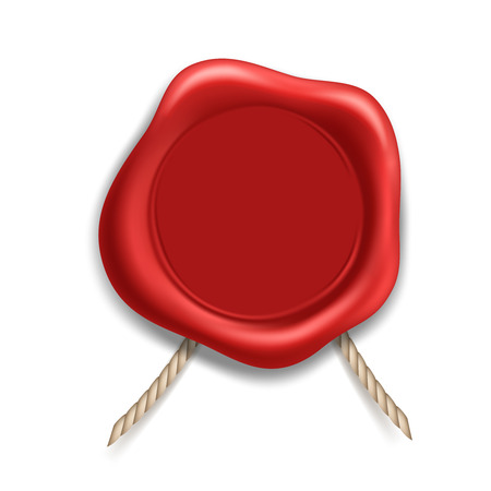 Red wax seal isolated on white background. Realistic vector image. Ilustración de vector