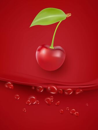 Cherry juice close up. Fresh cherry juice. 3d vector illustration.