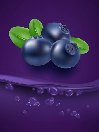 Blueberry juice close up. Fresh blueberry juice. 3d vector illustration.