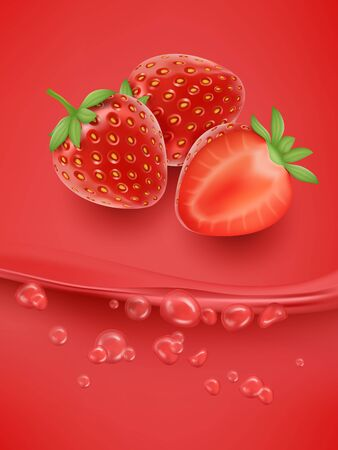 Strawberry juice close up. Fresh strawberry juice. 3d vector illustration.