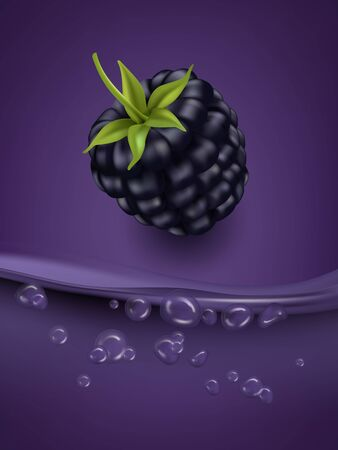 Blackberry juice close up. Fresh bblackberry juice. 3d vector illustration.