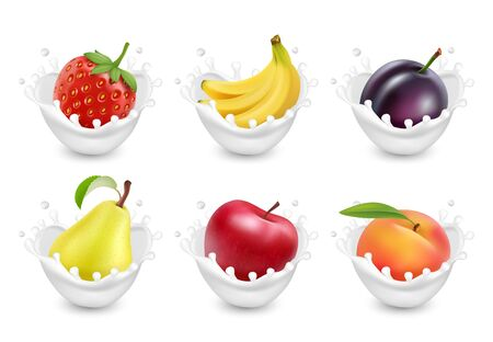 Set of fruit in a milk splash. Fruits yogurt. 3d realistic vector