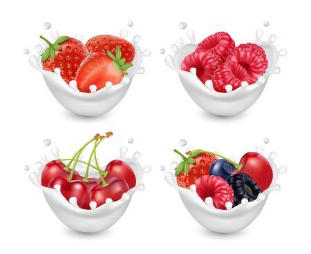 Berries yogurt set. Berries with milk splashes. 3d realistic vector