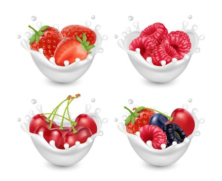 Berries yogurt set. Berries with milk splashes. 3d realistic vector