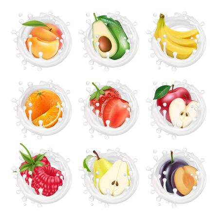 Set of fruits and berries in a milk splashes. Fruits yogurt. 3d realistic vector