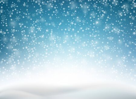 Winter blue sky with falling snow, snowflake. Holiday winter background for merry Christmas and Happy New Year. Blue Christmas snowflakes background. Vector illustration