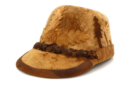 old hunting hat with motives of deer and spruce