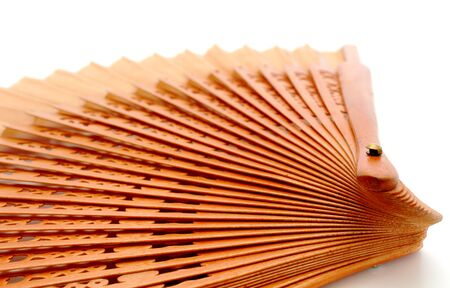 rosewood: opened  fan made of rosewood over white background