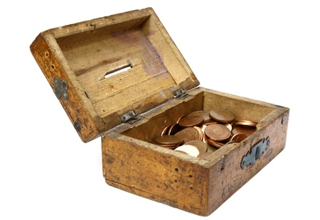 moneybox: opened wooden moneybox with romanian currency