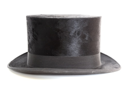 old black elegant topper hat over white background