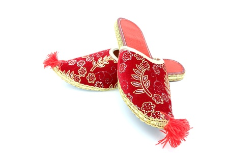 red turkish shoes over white background