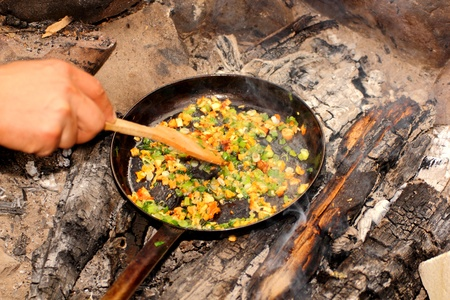 making omelette with mushrooms and onion on campfire photo
