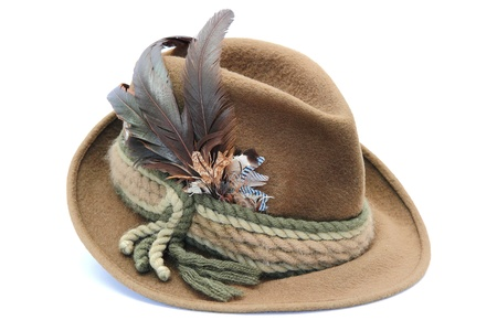 german hunting hat decorated with pheasant and jay feathers 스톡 콘텐츠