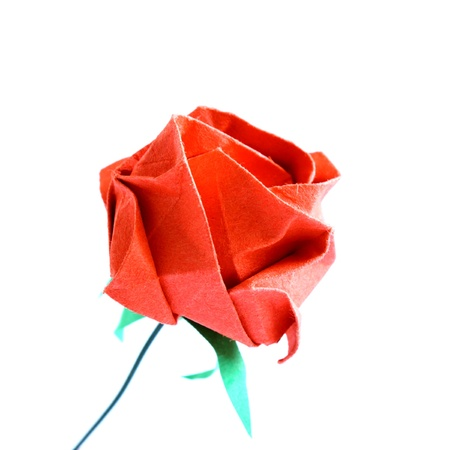 origami red rose isolated on white background photo