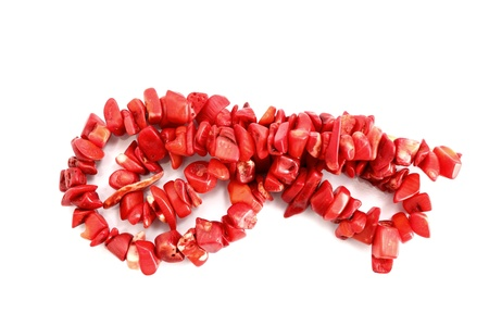 natural red coral necklace over white background photo