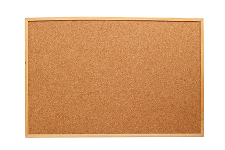 wooden cork board with frame isolated on white background