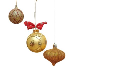 three different beautiful golden christmas baubles Stock Photo - 16526395