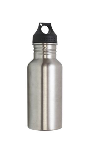 water bottle: metallic water bottle for hiking isolated over white background