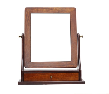 mirror for make up on wooden frame isolated over white background photo