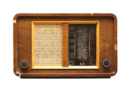 very old wooden radio isolated over white background Stock Photo