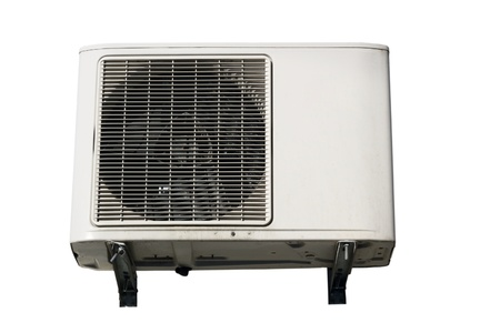 old air conditioner equipment isolated over white background photo