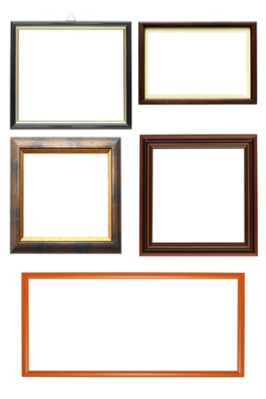 collections of wooden frames isolated over white background photo