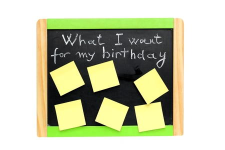 what I want for my birthday written with chalk on blackboard photo