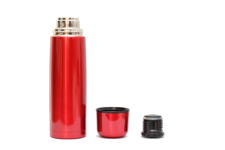 open red thermo bottle with shadows over white background