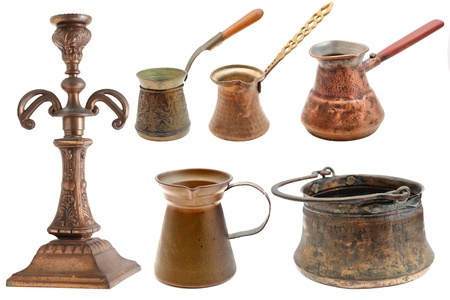 collection of vintage brass objects isolated over white background Stock Photo - 16957074