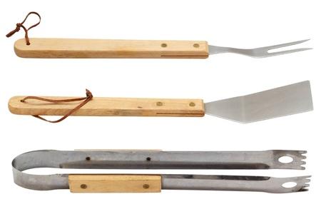 白い背景に分離に使用されるバーベキュー ツール セット