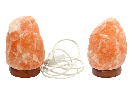 salt lamp: two different views of same salt lamp isolated over white background