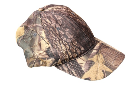 camouflage hunting cap isolated over white background Stock Photo
