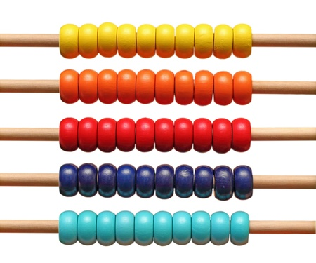 colorful abacus detail isolated over white background photo