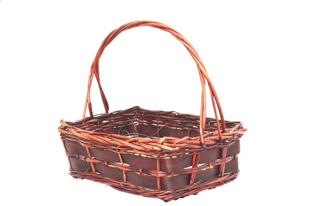 handmade trellis basket for fruits isolated over white background Stock Photo - 18141122