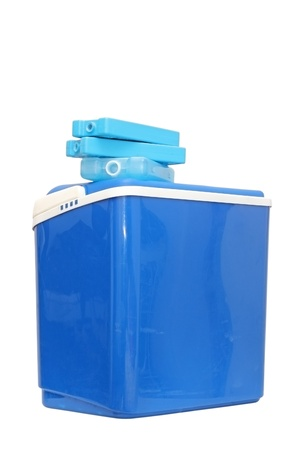 refills: blue plastic cooling box with refills over white background