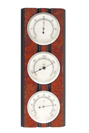 old instrument of measurement - thermometer, barometer and hygrometer on a wooden frame Standard-Bild