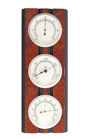 viejo instrumento de medici�n - term�metro, bar�metro y el higr�metro en un marco de madera Foto de archivo - 18284522