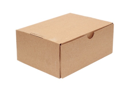 simple brown carton box isolated over white background Standard-Bild