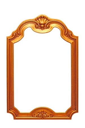 beautiful old baroque frame isolated on white background photo