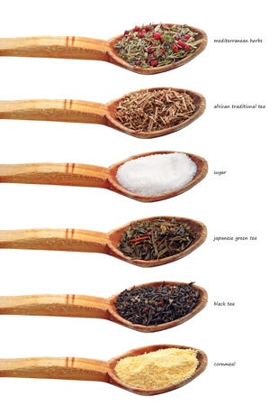 collection of different ingredients in old wooden spoon isolated on white background photo