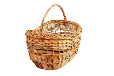 traditional handmade trellis wooden basket isolated over white background photo