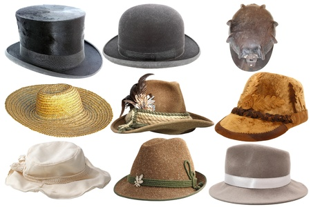 collection of different types of hats isolated on white background photo