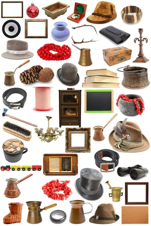 big collection of vintage objects  over white background