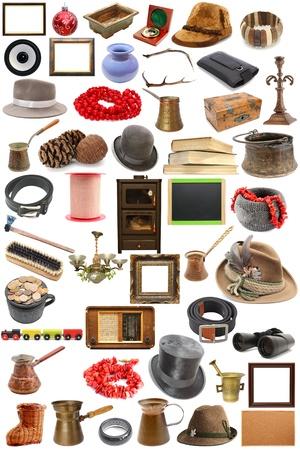 stor samling av vintage objekt över vit bakgrund Stockfoto