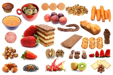 collection of different types of food over white background Stock Photo - 19357552