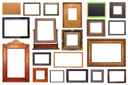 large collection of different types of wooden frames isolated on white background photo