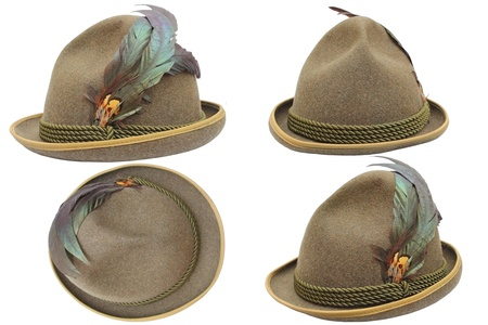 オクトーバーフェスト狩猟白い背景の上の 4 つの異なるビューで帽子の装飾